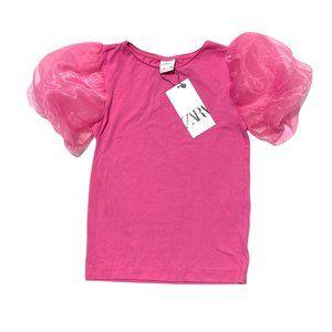 NEW Zara Organza Sleeve Pink Top